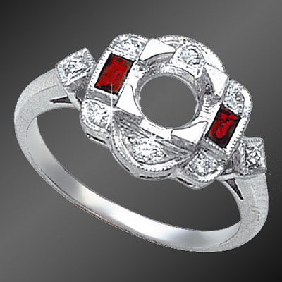 862-3 Vintage inspired French cut baguette ruby and round diamond platinum semi mount