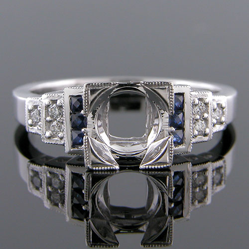 PPD61-4 Art Deco reproduction triple step French cut sapphire and diamond engagement ring semi mount